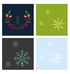 Set of snowflake icon sign design red background vector