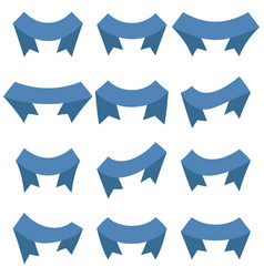 set of twelve blue ribbons and banners vector image