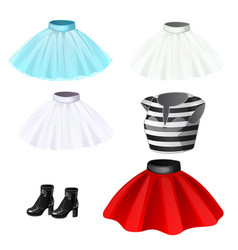 set skirts striped t-shirts and boots vector image