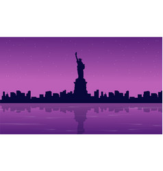 silhouette of liberty with reflection scenery vector image
