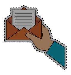Sticker shading hand holding blank paper envelopes vector