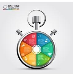 Stopwatch timeline infographic vector