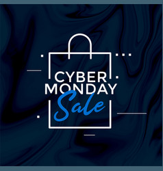 Stylish cyber monday sale shopping bag design vector