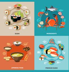 sushi concept set vector image