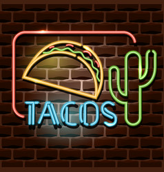tacos neon advertising sign vector image