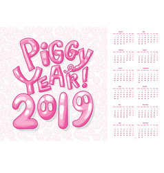 uk calendar cover for 2019 new year of pig vector image