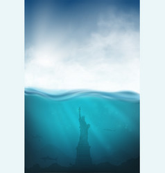 underwater with shark statue liberty vector image