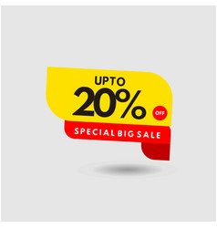 Up to 20 special discount label template design vector