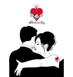 valentines day couple dancing romantic music girl vector image