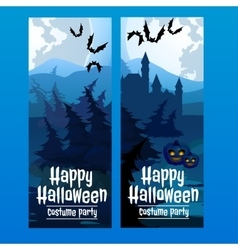Vertical blue cards with the spooky forest vector