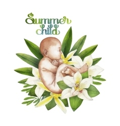 Watercolor fetus with floral decorations vector