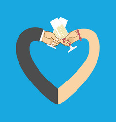Wedding male and female hand to drink wine to vector