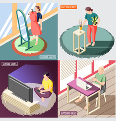 weekend at home isometric concept vector image