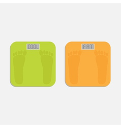 Weight scale with word fat and cool Flat design vector