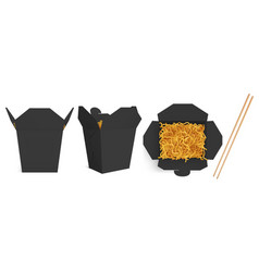 wok box noodles mockup take away food container vector image