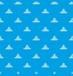 world currency pattern seamless blue vector image
