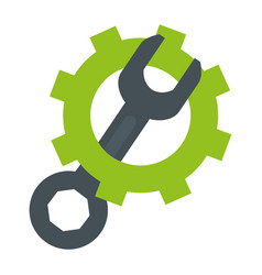 wrench tool with gear vector image
