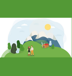 Young couple in nature cartoon characters vector