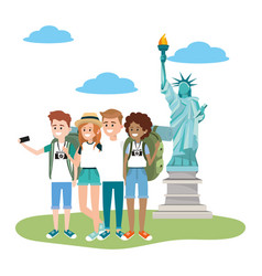 Young friends tourists vector