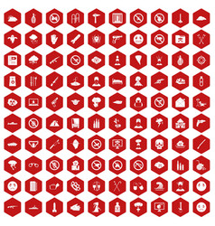 100 tension icons hexagon red vector