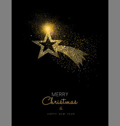 Christmas and new year gold glitter star design vector