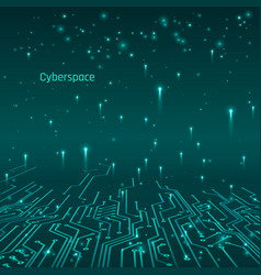 cyberspace futuristic concept circuit tracks and vector image