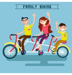 Family Biking Family Riding Triple Tandem Bicycle vector image