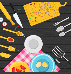 flat kitchenware utensils and food on wooden vector image