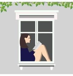 girl reading book sitting at the window vector image