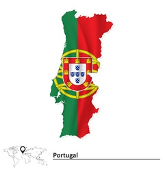 Map of Portugal with flag vector image vector image