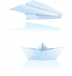 paper boat and plane vector image vector image