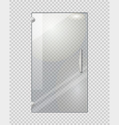 transparent door on grey checkered background vector image
