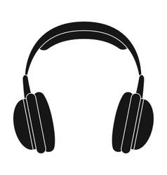 Vintage headphones icon in black style isolated on vector image