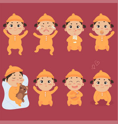 cute little baby in footies with different vector image