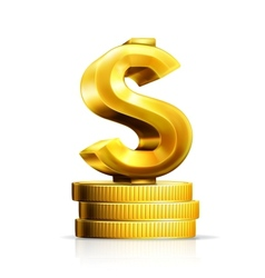 Dollar sign and coins vector image vector image