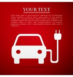 Electric powered car symbol flat icon on red vector