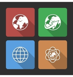 Globe earth icons set with Long Shadow vector image vector image