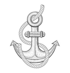 anchor with rope hand drawn sketch vector image vector image