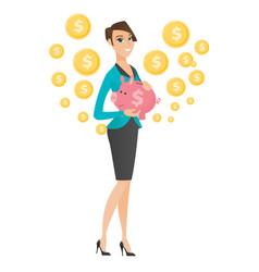 Caucasian business woman holding a piggy bank vector