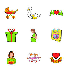 heart day icons set cartoon style vector image vector image