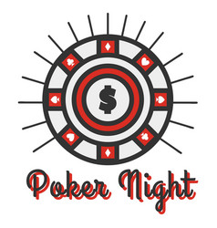 poker night banner big round vector image vector image