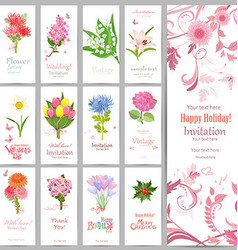 romantic collection of banners with graceful vector image
