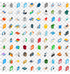 100 multimedia icons set isometric 3d style vector