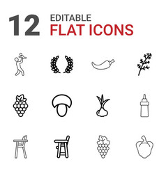 12 eating icons vector