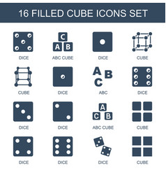 16 cube icons vector