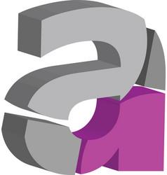 3d font letter a vector image