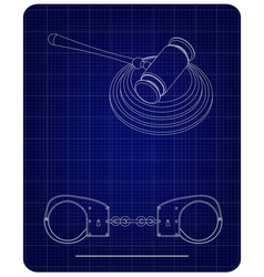 3d model of handcuffs and judges gavel on a blue vector image