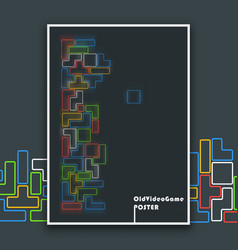 abstract old video tetris game poster vector image