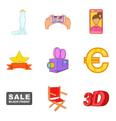 ads icons set cartoon style vector image
