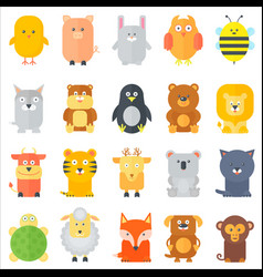 Animal icons collection flat animals set vector